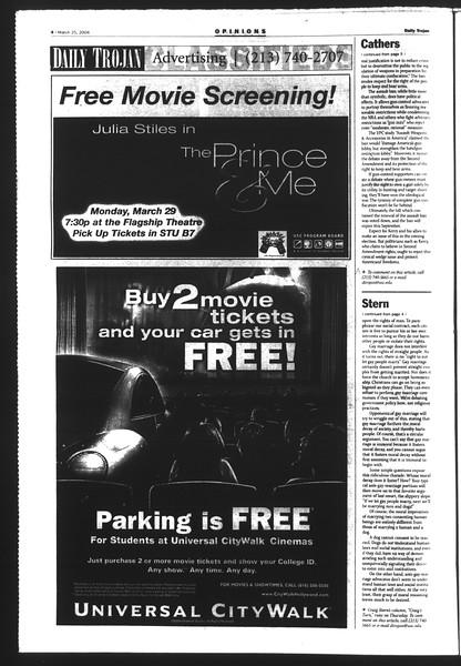 Daily Trojan, Vol. 151, No. 42, March 25, 2004