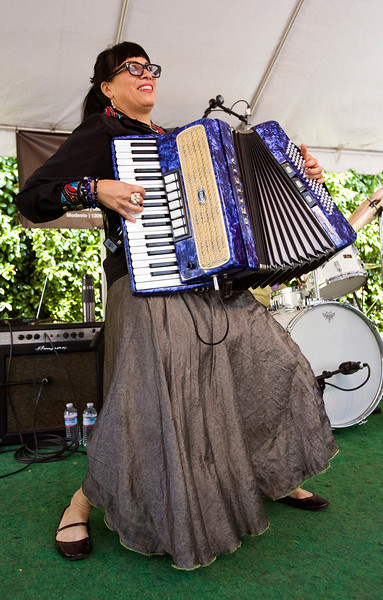 Gigi Rabe of Lisa Haley & The Zydecats wails on the accordion at the Sacramento Jazz Festival.