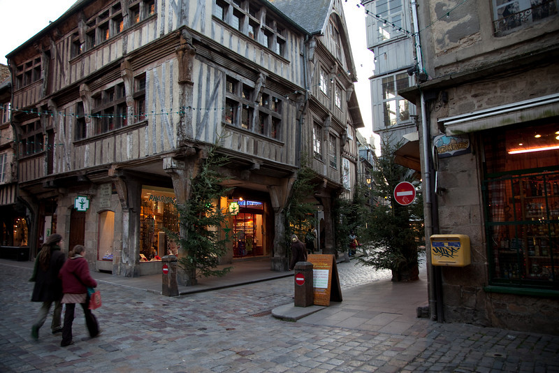 Dinan is an incredibly beautiful medieval resort town on a river. The downtown was decorated everywhere with pine trees and boughs.