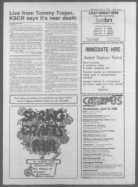Daily Trojan, Vol. 106, No. 59, April 13, 1988