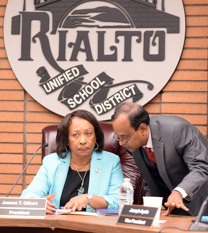 . The Rialto Unified School District board held a special emergency meeting Wednesday May 7, 2014 to address the critical thinking assignment given to middle school students on whether the Holocaust occurred or was merely a political scheme created to influence public emotion and gain. (Will Lester/Inland Valley Daily Bulletin)