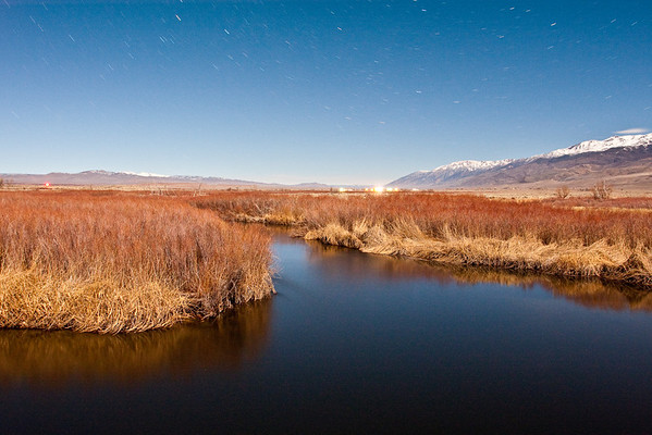 Owens River under a midnight almost full moon - January 2011