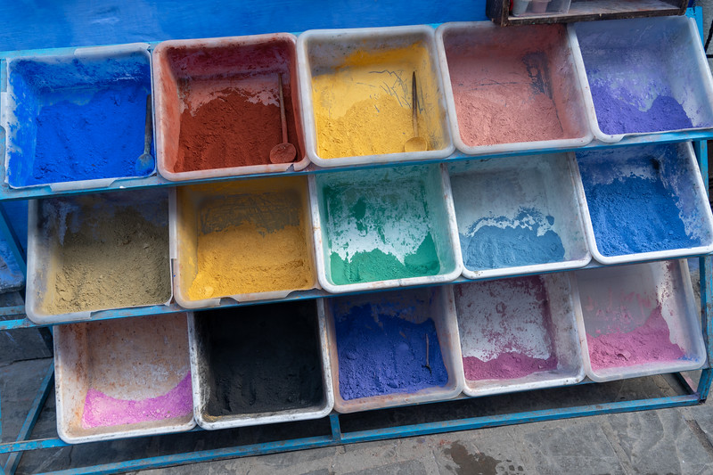 Paint pigment in Chefchaouen, Morocco
