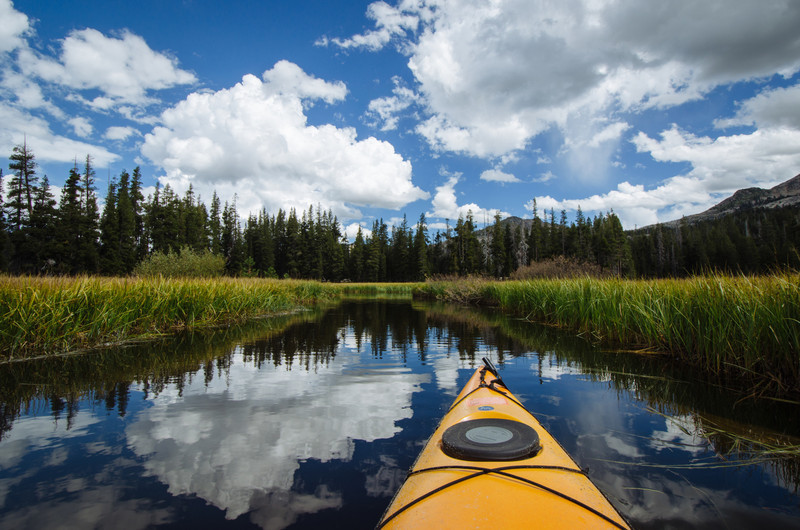 Kayaking Wrights Lake inlet, Eldorado National Forest