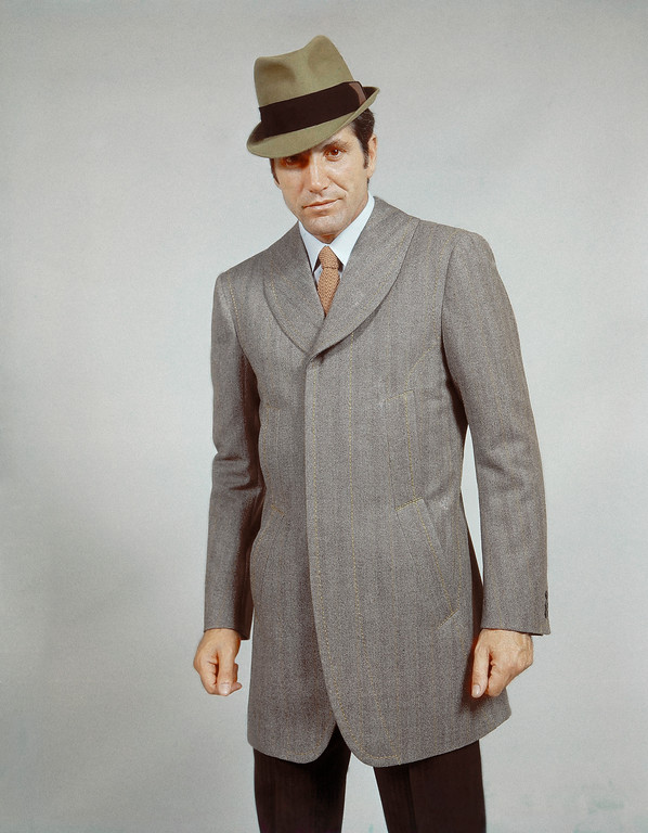 . Complete wool derby style suit. Long single breasted jacket with shawl shaped collar and hidden buttons. By Angelo Litrico of Rome in 1968. (AP Photo/Mario Torrisi)