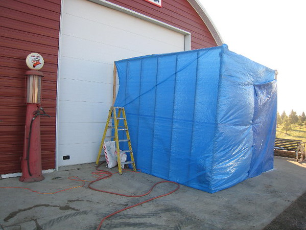 We build a three sided shed to block the wind.  There was a 5 mph wind when we started and 20 mph when we finished