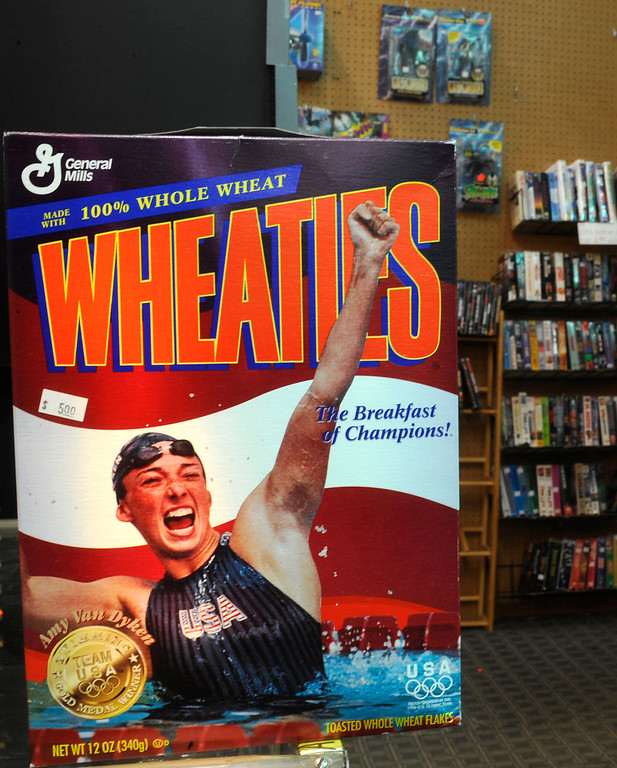 . A Wheaties box of cereal with Coloradan Amy Van Dyken  on the front at Itchy\'s Flea Market and Sports Card Shop at November 22, 2010.  Cyrus McCrimmon, The Denver Post
