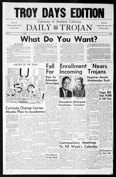 Daily Trojan, Vol. 55, No. 1, September 16, 1963