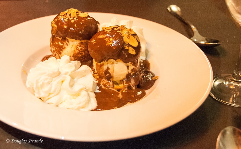 Profiteroles for dessert at Le Bosquet