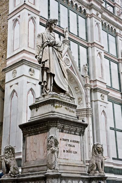 Statue of Dante on Piazza di Santa Croce