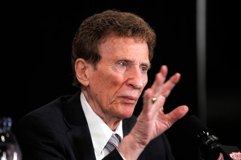 . Detroit Red Wings owner Mike Ilitch addresses the media after newest player, Mike Modano, is introduced as a Red Wing in Detroit, Friday, Aug. 6, 2010. (AP Photo/Carlos Osorio)