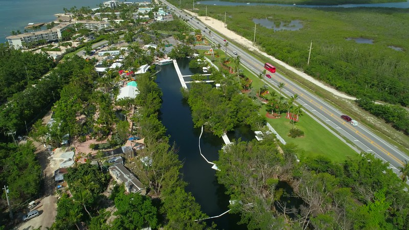 Theater of the Sea Islamorada Florida Keys aerial drone footage 4k