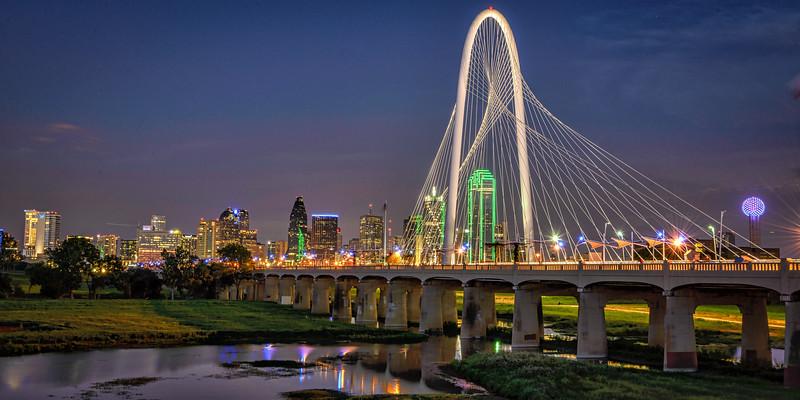 Dallas skyline with Margaret Hunt Hill bridge