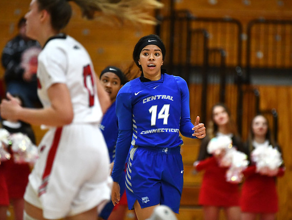 12/21/2019 Mike Orazzi | StaffrCCSU's Ashley Forker (14) during Saturday's women's basketball game with The University of Hartford in West Hartford.