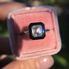 1.19ct Vintage Emerald Cut Diamond Onyx Ring, GIA E VS2 31