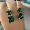 Georgian Double Drop Emerald Paste Earrings 9