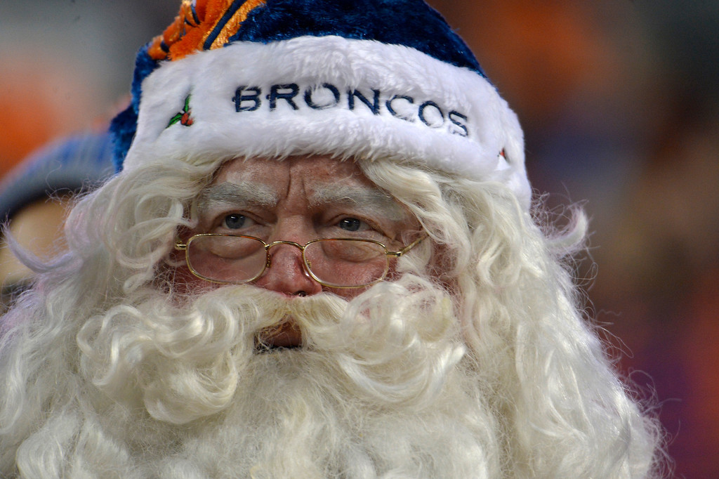 . Even Santa can\'t help the Broncos tonight. The Denver Broncos vs. the San Diego Chargers at Sports Authority Field at Mile High in Denver on December 12, 2013. (Photo by Joe Amon/The Denver Post)