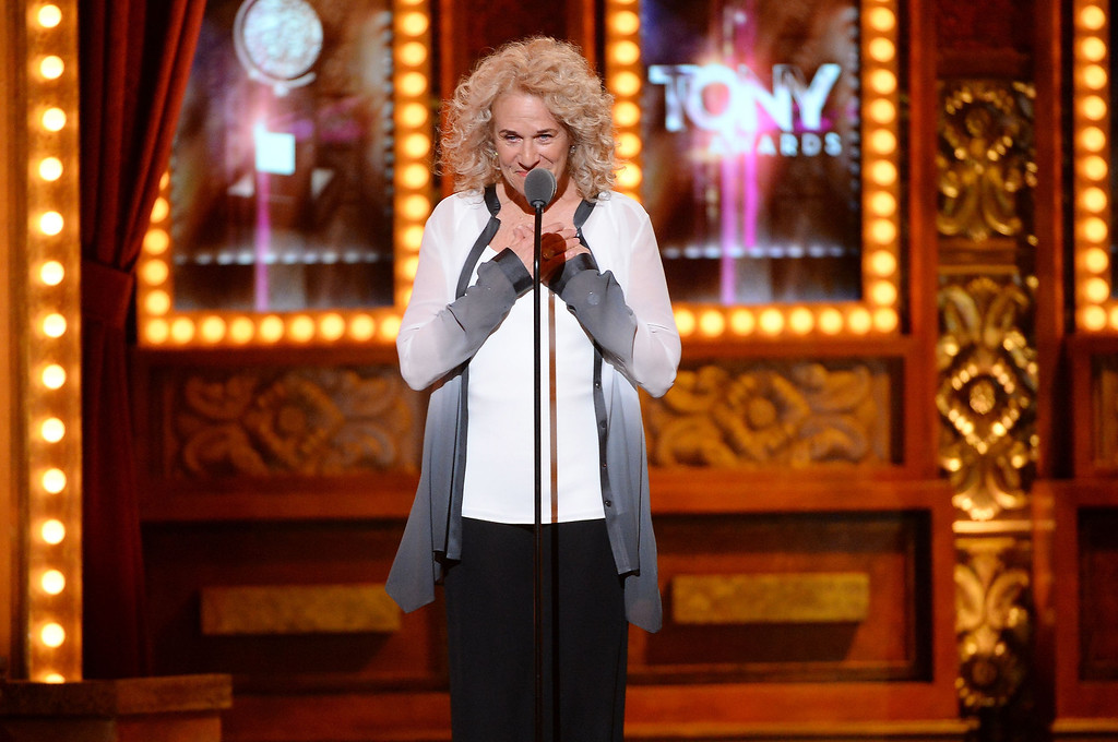 . Singer Carole King speaks onstage during the 68th Annual Tony Awards at Radio City Music Hall on June 8, 2014 in New York City.  (Photo by Theo Wargo/Getty Images for Tony Awards Productions)