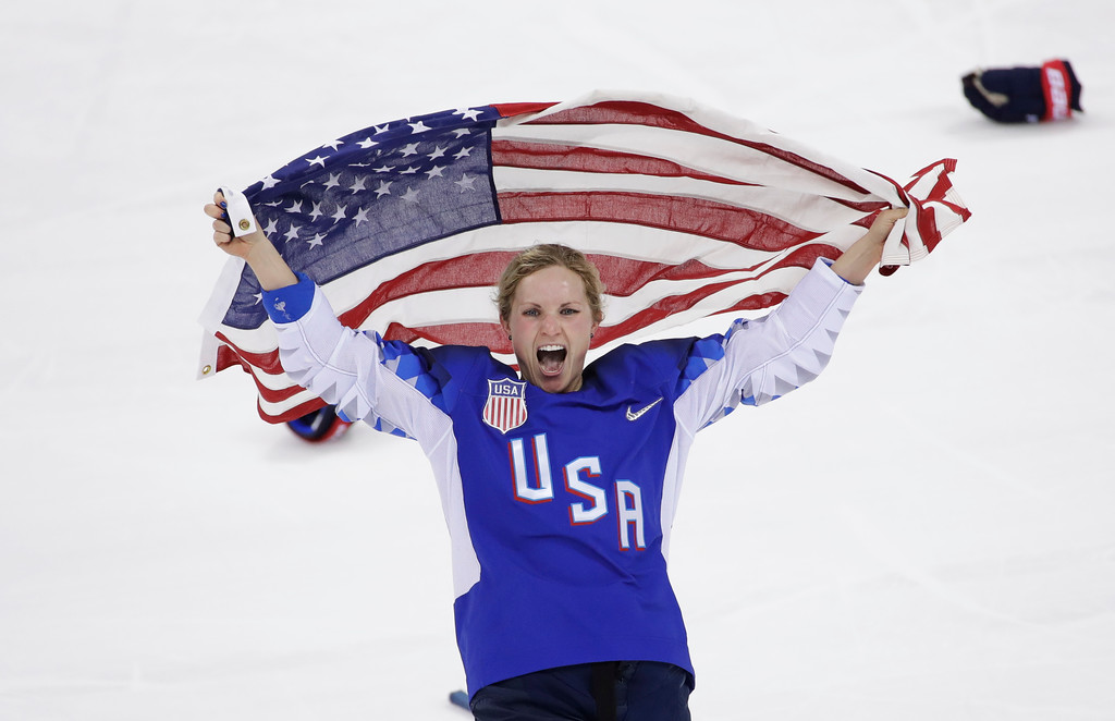 . Jocelyne Lamoureux-Davidson (17), of the United States, celebrates after winning against Canada in the women\'s gold medal hockey game at the 2018 Winter Olympics in Gangneung, South Korea, Thursday, Feb. 22, 2018. (AP Photo/Matt Slocum)