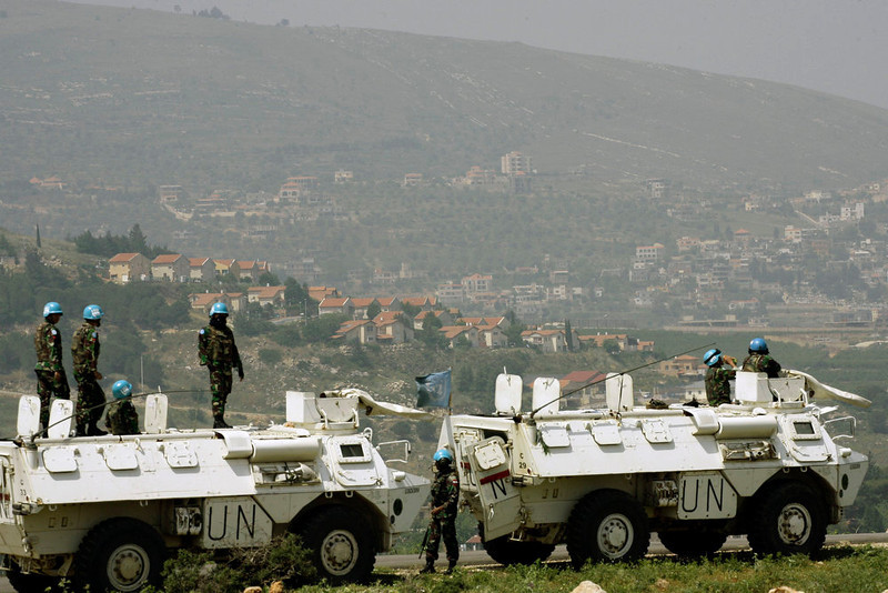 . Peacekeepers of the United Nations Interim Force in Lebanon (UNIFIL) monitor the Lebanese-Israeli border at a point overlooking an Israeli settlement, in southern Lebanon on May 6, 2013. A senior Israeli source said the strikes against Syria, carried out earlier in the week, targeted weapons destined for Lebanese group Hezbollah, which is allied with the regime of Syrian President Bashar al-Assad.  STR-/AFP/Getty Images