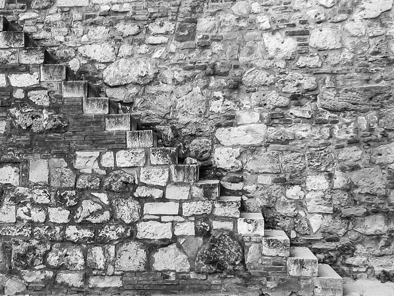 Stairs by one of the fortifications along the walls of the 15th century Buda Palace.