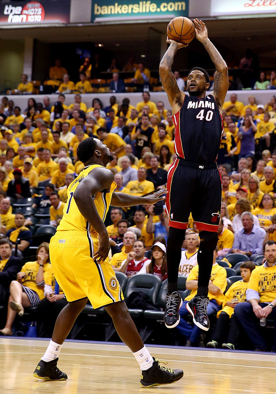 . INDIANAPOLIS, IN - MAY 20: Udonis Haslem #40 of the Miami Heat takes a shot as Lance Stephenson #1 of the Indiana Pacers defends during Game Two of the Eastern Conference Finals of the 2014 NBA Playoffs at at Bankers Life Fieldhouse on May 20, 2014 in Indianapolis, Indiana.   (Photo by Andy Lyons/Getty Images)