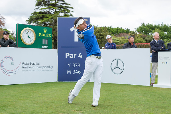 W Chothirunrungrueng from Thailand hitting off the 1st tee on Day 1 of competition in the Asia-Pacific Amateur Championship tournament 2017 held at Royal Wellington Golf Club, in Heretaunga, Upper Hutt, New Zealand from 26 - 29 October 2017. Copyright John Mathews 2017.   www.megasportmedia.co.nz