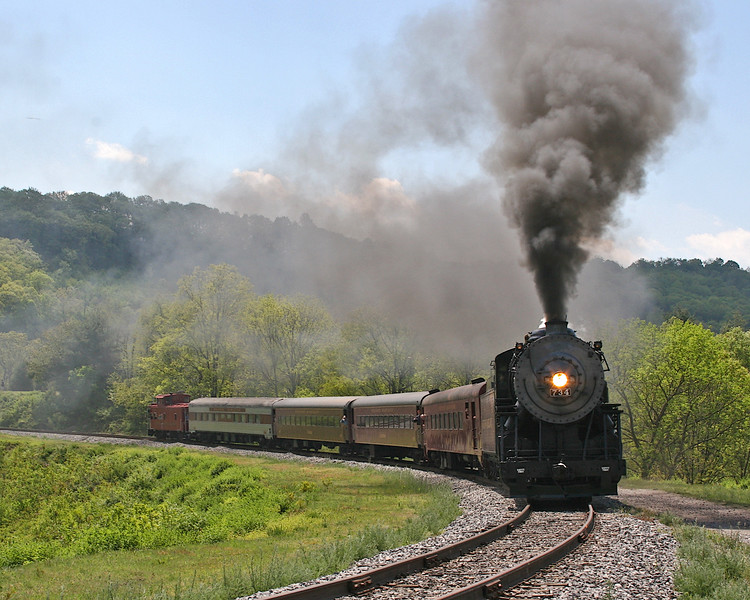 Early May on Helmstetters Curve Western Maryland Scenic Railroad