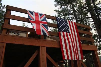 Sanborn day one - flags flying on Paul's yert