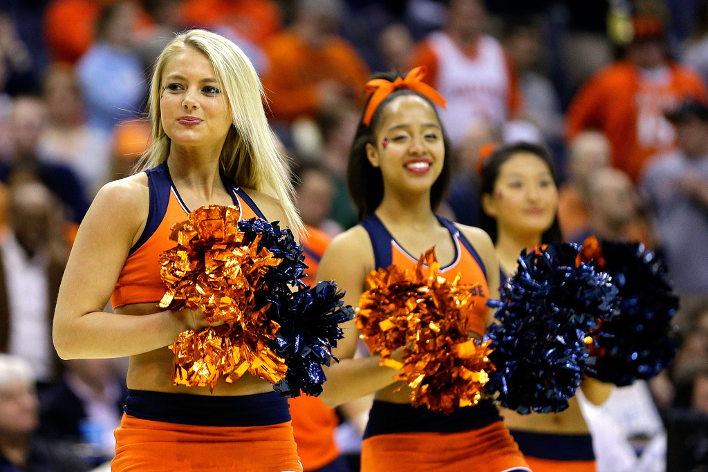 . Syracuse Orange cheerleader perform during the East Regional Round Final of the 2013 NCAA Men\'s Basketball Tournament at Verizon Center on March 30, 2013 in Washington, DC.  (Photo by Rob Carr/Getty Images)