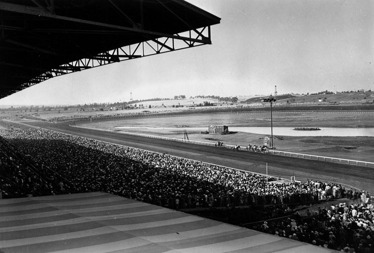 . View of the crowd in the grandstand at Hollywood Park Racetrack, looking toward the horses on the track in 1939. Built in 1937, it was designed by architect Stiles O. Clements and landscape architect Edward Huntsman-Trout.    (Los Angeles Public Library)