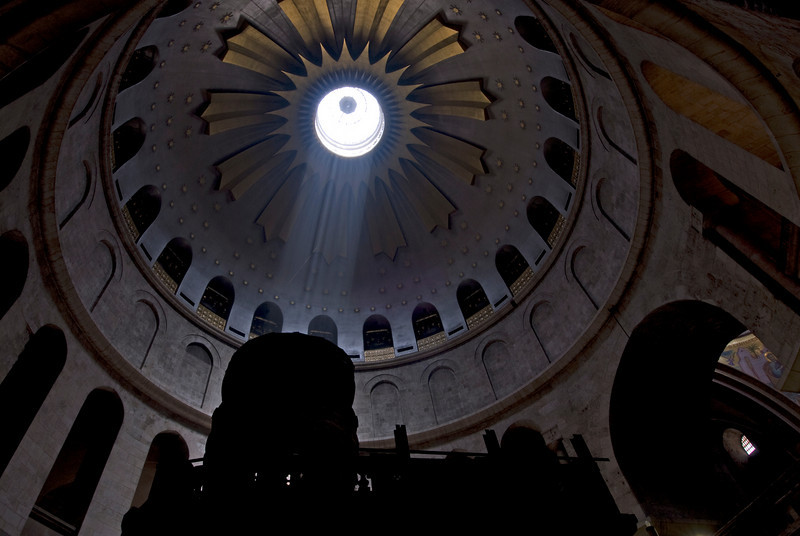 Light beam entering the dome of Church of the Holy Sepulchre in Jerusalem
