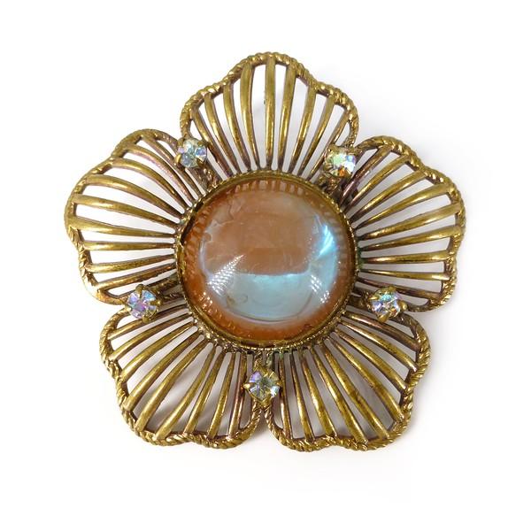 Vintage Mid Century German Sappharine Saphiret Flower Glass Cabochon Brooch