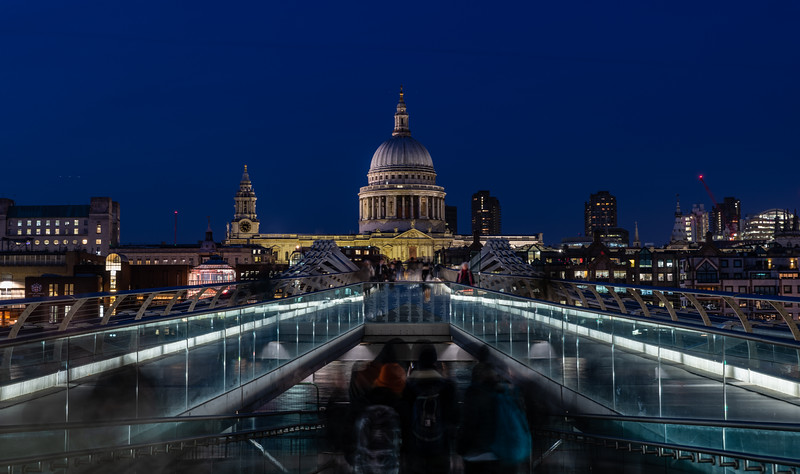 Millennium Bridge leads to St Pauls Cathedral