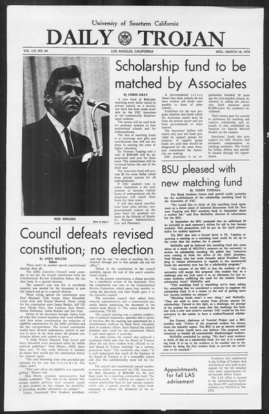 Daily Trojan, Vol. 61, No. 94, March 18, 1970