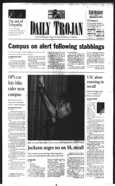 Daily Trojan, Vol. 150, No. 17, September 18, 2003