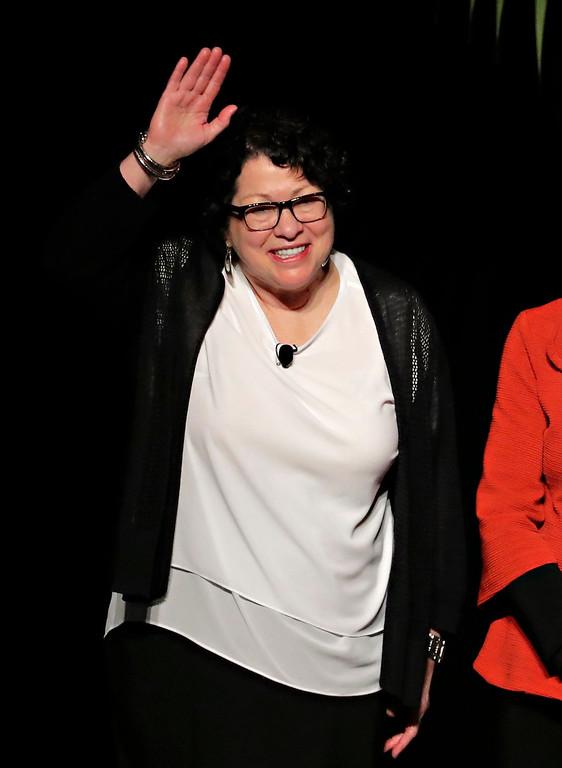 . U.S. Supreme Court Associate Justice Sonia Sotomayor waves after speaking at Arizona State University, Monday, Jan. 23, 2017, in Tempe, Ariz. (AP Photo/Matt York)