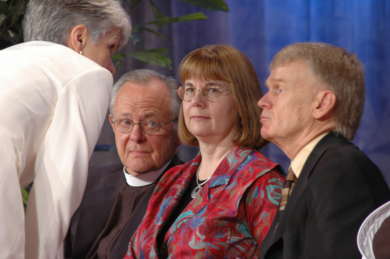 Myrna Sheie, Executive Assistant to the Bishop, speaks to The Rev. James M. Childs, Jr., (Director for ELCA Studies on Sexuality) The Rev. Rebecca Larson (Director, Division for Church in Society) and The Rev. Stanley Olson (Executive Director, Division for Ministry)