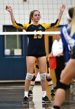 11/16/2019 Mike Orazzi | StaffrWoodstock Academy's Aurissa Boardman (13) during the 2019 State Girls Volleyball Tournament Class L Quarterfinals at BEHS in Bristol Saturday. r