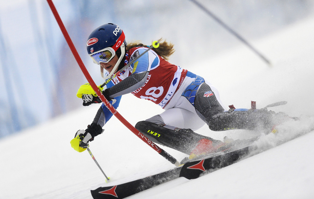 . Mikaela Shiffrin of USA competes during the Audi FIS Alpine Ski World Cup Women\'s Slalom on November 10, 2012 in Levi, Finland. (Photo by Alain Grosclaude/Agence Zoom/Getty Images)