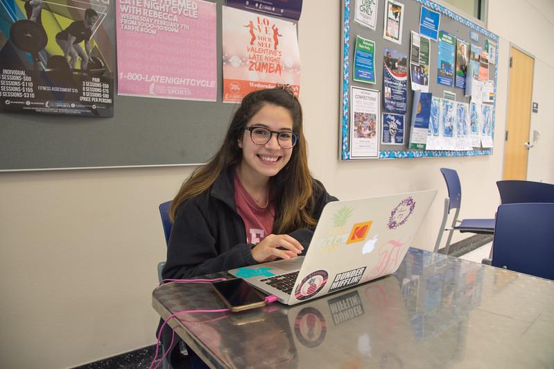 Angel Tellez studies for Micro Biology in the Dugen Wellness Center