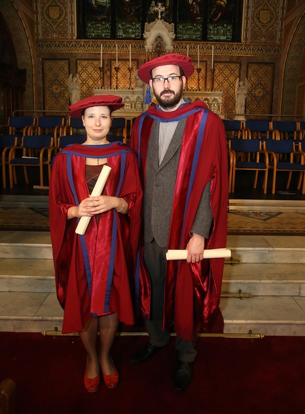 Pictured is Magdalena, Necpalova of Slovakia and Piltown, Kilkenny and Enda Coates, Newbridge, Co Kildare who were conferred a Doctor of Philosophy. Picture: Patrick Browne.