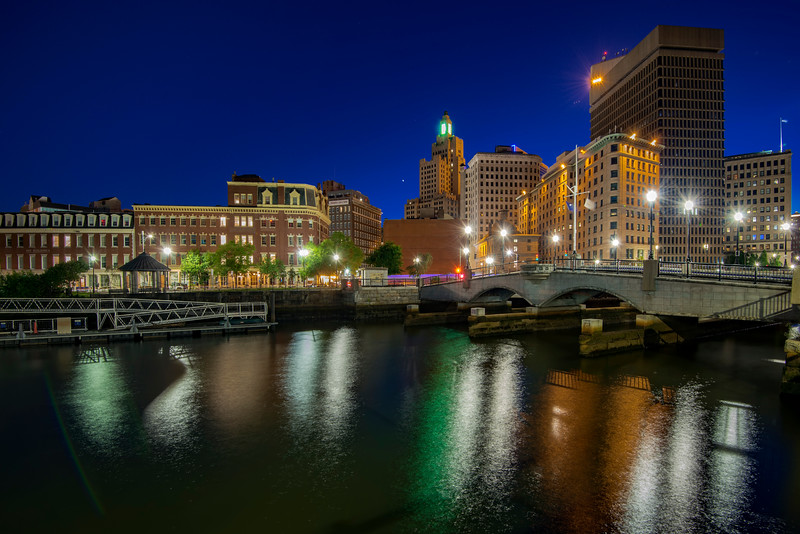 Providence River and S Water street Bridge at night