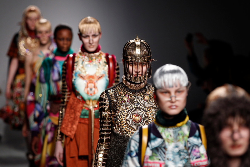 . Models wear creations for Indian fashion designer Manish Arora\'s fall-winter 2015-2016 ready-to-wear fashion collection, as part of the Paris Fashion Week, and presented in Paris, France, Thursday, March 5, 2015. (AP Photo/Christophe Ena)