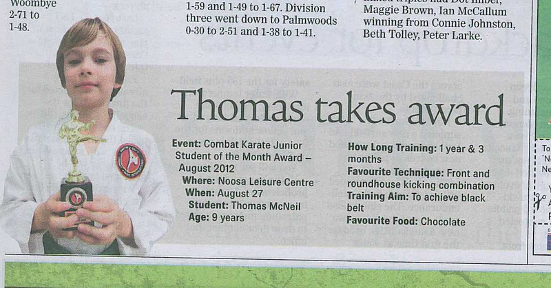 Thomas McNeil - Combat Karate Junior Student Of Month August 2012