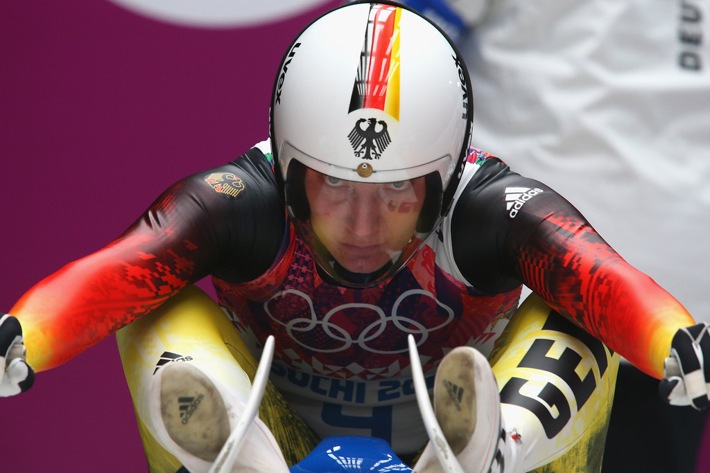 . Tatjana Huefner of Germany prepares for her first run during the Women\'s Luge Singles on Day 3 of the Sochi 2014 Winter Olympics at Sliding Center Sanki on February 10, 2014 in Sochi, Russia.  (Photo by Alexander Hassenstein/Getty Images)