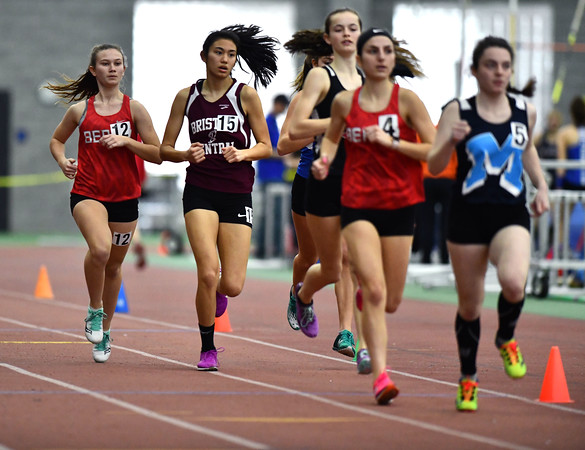 2/1/2020 Mike Orazzi | StaffrBristol Central's Isabella Crandall in the girls 1600 Meter Run during the CCC Indoor Track & Field Championships at the Floyd Little Athletic Center in New Haven on Saturday.