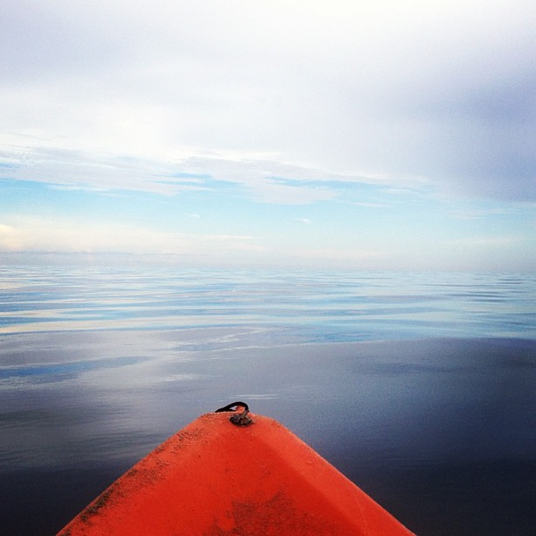 after the storms perfect #flatocean evening for #kayaking at the #beach