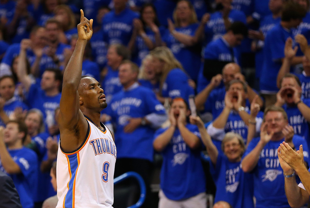 . Serge Ibaka #9 of the Oklahoma City Thunder reacts as he leaves the court in the second half against the San Antonio Spurs during Game Three of the Western Conference Finals of the 2014 NBA Playoffs at Chesapeake Energy Arena on May 25, 2014 in Oklahoma City, Oklahoma.  (Photo by Ronald Martinez/Getty Images)