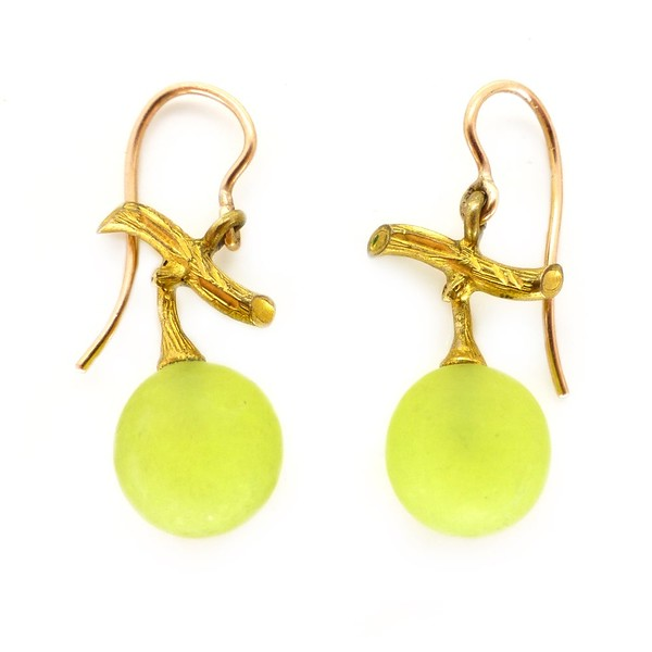 ANTIQUE BELLE ÉPOQUE FONSEQUE ET OLIVE GOLD URANIUM GLASS GRAPE EARRINGS